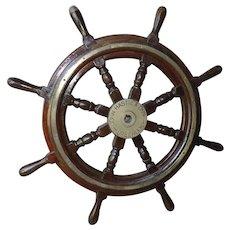 """Rare 1940's vintage John Hastie & Co. 36"""" Mahogany and Brass Ships Wheel"""
