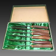 1930's Vintage Baron Steak Knives Set of 6 with genuine antler handles