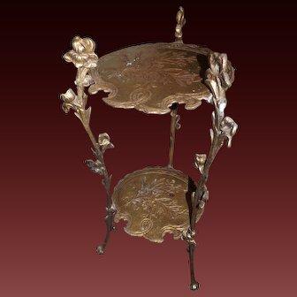 Vintage Brass Metal 3 legged Vanity Table