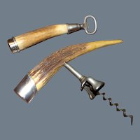 Antique J. F. Fradley Corkscrew and Bottle Opener Sterling Silver & Antler