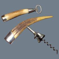 Antique J. F. Fradley Corkscrew and Bottle Opener Sterling Silver & Antler