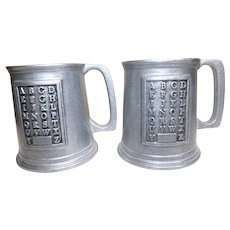 Vintage Set of 2 Pewter Wilton Armetale RWP ABC Mugs