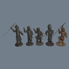 Antique 19th Century Cast Bronze Chinese Military Soldier Figures
