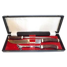 Elegant George Butler & Co. Antler Handle Carving Set Vintage 1950's