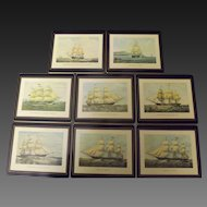 Vintage Lady Clare Tall Ships Place Mats Trays Set of 8