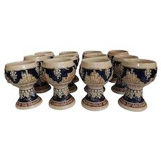 Vintage Set of 12 Gerz Stoneware German Castles Wine Goblets
