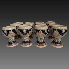 Vintage Set of 12 Gerz Stoneware German Castles Wine Goblets