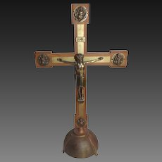 Vintage 1940's Wood and Brass Crucifix from European Church