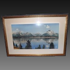 Signed Joseph E. Stimson Hand Colored Photograph Mountain Lake Cheyenne WY.