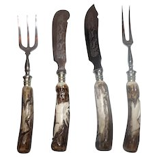Set of 4 Antler Handle hors d'oeuvres pieces