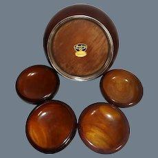 Vintage John Hasselbring 5 Piece African Mahogany Salad Bowl Set