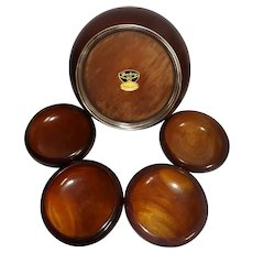 Vintage John Hasselbring 5 Piece African Mahogany Salad Bowl Set