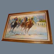 "Vintage Anthony Veccio Oil on Canvas ""Horse Race"" Signed Original"