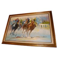 "Vintage Anthony Veccio Oil on Canvas ""Horse Race"" Signed Original"