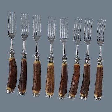 Set of 8 Antler Handle Kimmel Forks