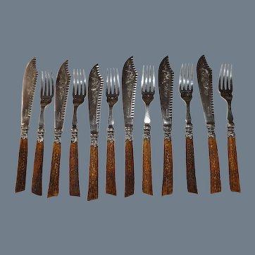 Superb Antler Handle WR Humphries & Co Dessert Knife & Fork Set of 12 Pieces