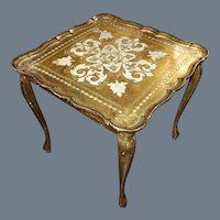 Vintage Gold & White Hand Painted Florentine Table