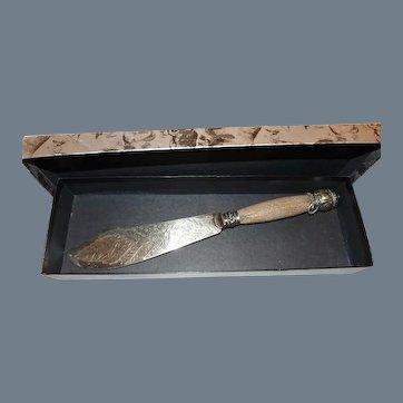 Antique Silver Plate Antler Handle Fish Cake Serving Knife AF & Cos
