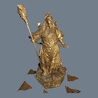 General Guan Yu with 5 Prayer Flags Bronze Warrior Statue