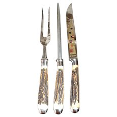Beautiful Anton Wingen Jr. Antler Handle Carving Set with Forged Handles