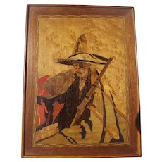 Vintage Inlaid Marquetry Wood Signed Art Gaucho with Gun