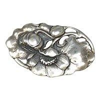 Art Nouveau Sterling Silver Flowers Brooch