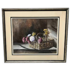 Canadian Claude Langevin Flower Basket Painting