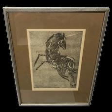 Canadian Moe Reinblatt Etching of a Unicorn