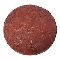 Qing Dynasty Cinnabar Lacquer Box with Cover
