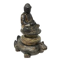 Heavily Gilded Wood Carving of Buddha on Lotus Flower
