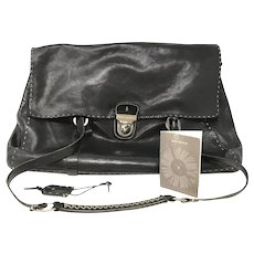 Henry Beguelin Black Leather Shoulder Bag with COA