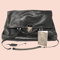Henry Beguelin Black Leather Shoulder Bag with COA