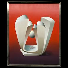 Kurt Larish Figures through a Geometric Shape Painting