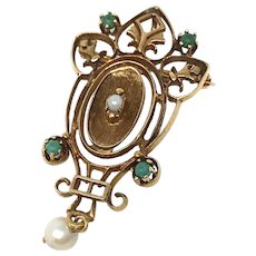 Victorian 14k Pearls and Stones Pin