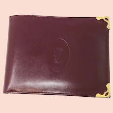 Cartier Paris Burgundy Leather Bi-fold Wallet