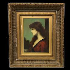 Attr. Jean Jacques Henner Profile de Dame Painting