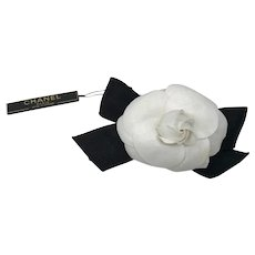 Classic Chanel Black Textile White Camelia Flower Barrette