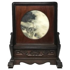 Chinese Dream Stone Carved Hardwood Plaque