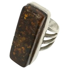 925 Silver Baltic Amber RIng