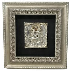 Russian Empire 84 Silver Mother of God Icon
