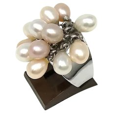 925 Silver Size 7 Ring with 13 Pearls