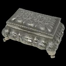 Antique Continental Silver Jewelry Box