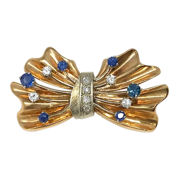 14k Gold Diamonds & Blue Sapphire Buckle Brooch