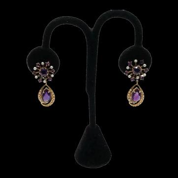 Victorian 14k Yellow Gold Pearl & Amethyst Stone Earrings