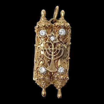 14k Yellow Gold Torah Scroll Jewish Pendant