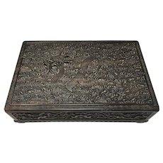 Qing Dynasty Zitan Hardwood Dragon Box