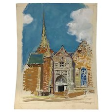 Francisque Laurent 1890-1958 The Church Painting