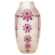 Legras France pate de verre acid cut flower design vase
