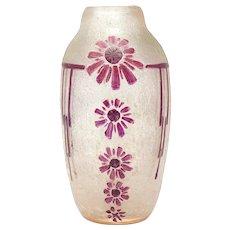 Legras France pate de verre acid cut flower design vase