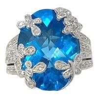 Estate 14k White Gold Diamond & Topaz Ring
